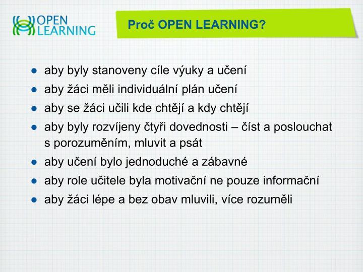 Proč OPEN LEARNING?