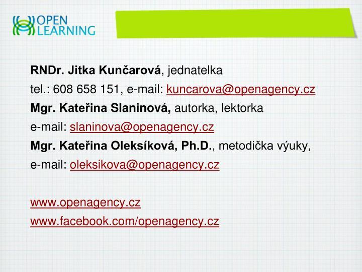 RNDr. Jitka Kunčarová