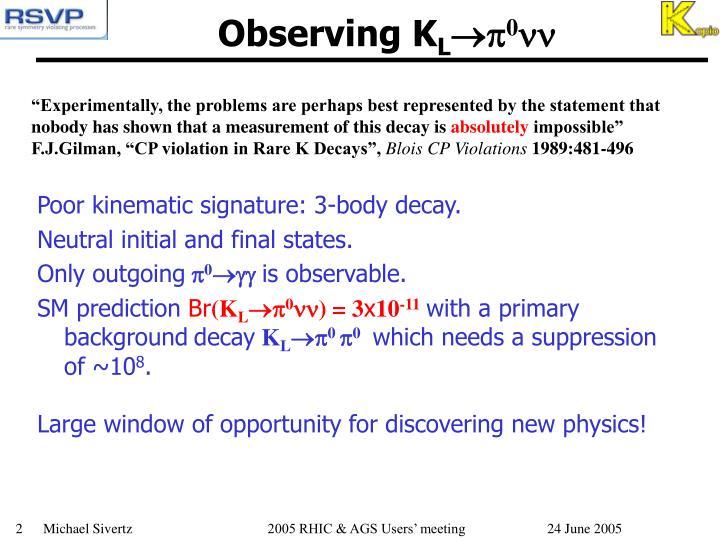 Observing K