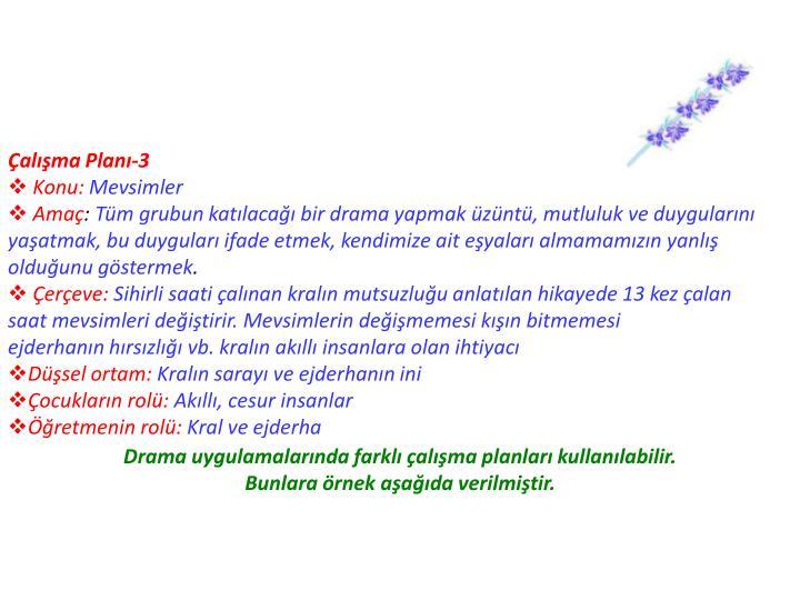 Çalışma Planı-3