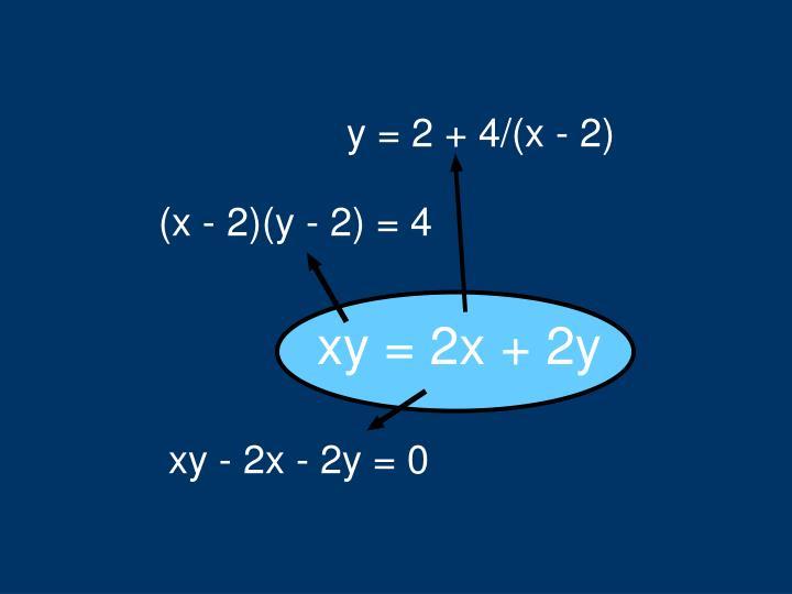 y = 2 + 4/(x - 2)