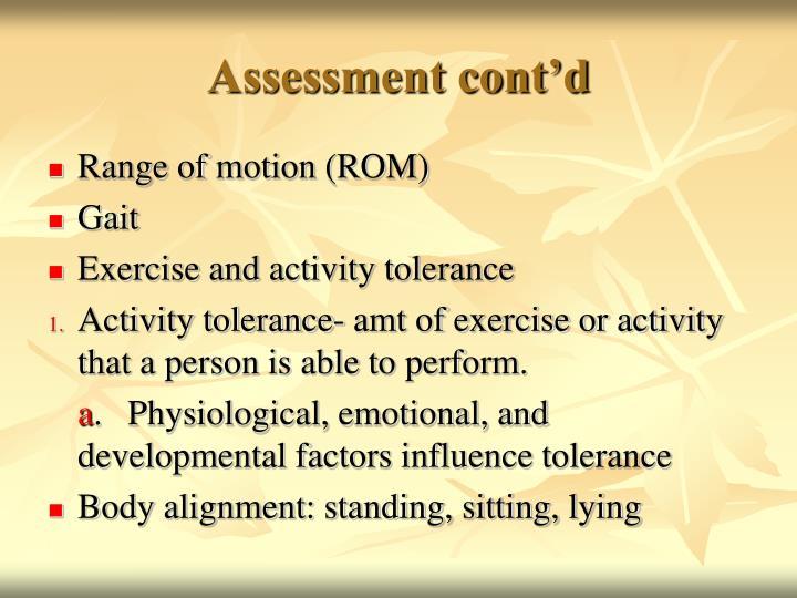 Assessment cont'd