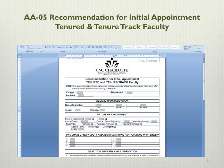 AA-05 Recommendation for Initial Appointment  Tenured & Tenure Track Faculty