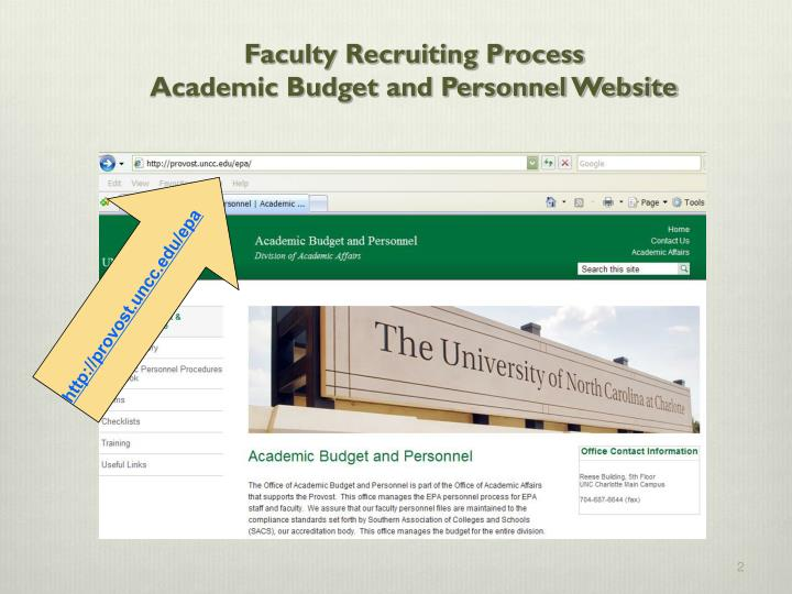 Faculty recruiting process academic budget and personnel website