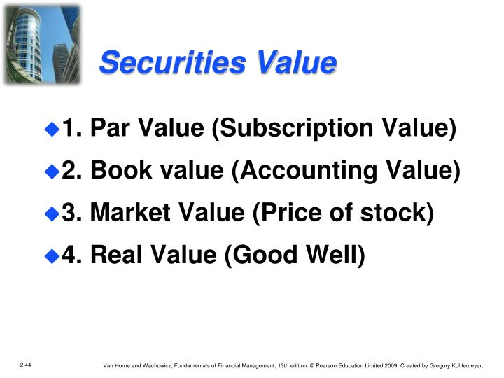 Securities Value