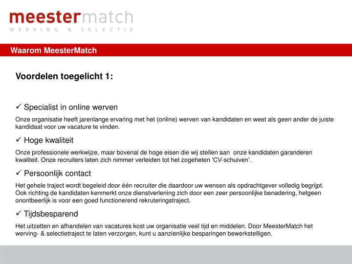 Waarom MeesterMatch