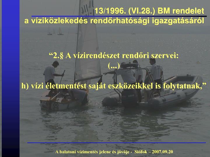 13/1996. (VI.28.) BM rendelet