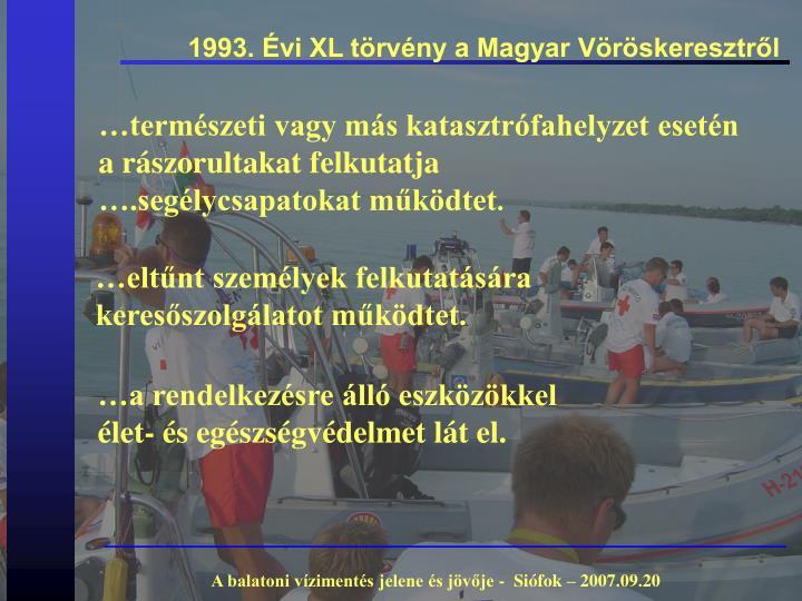 1993. Évi XL törvény a Magyar Vöröskeresztről