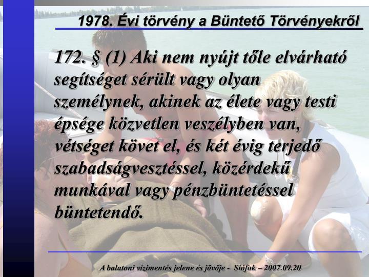 1978. Évi törvény a Büntető Törvényekről