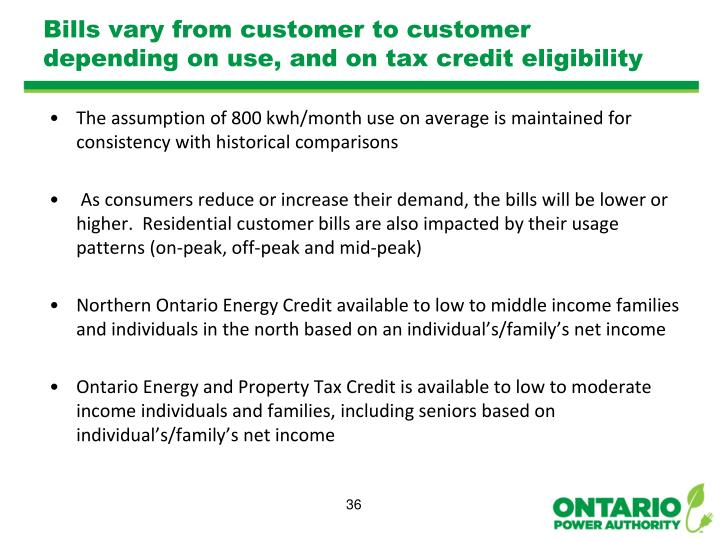 Bills vary from customer to customer depending on use, and on tax credit eligibility
