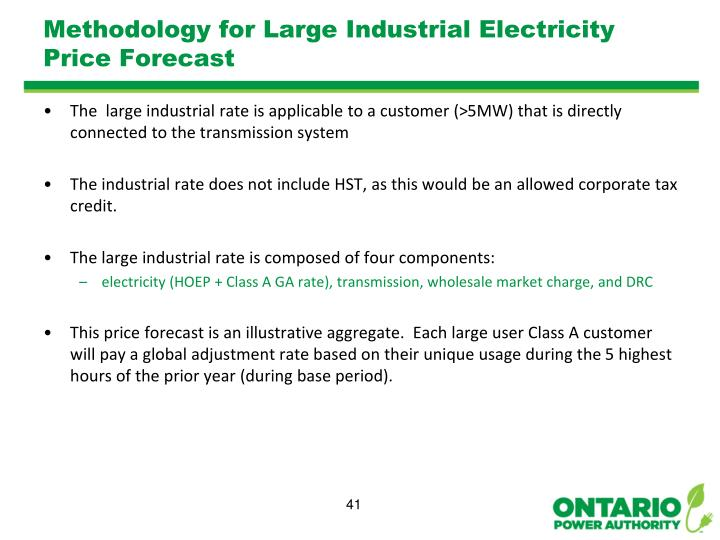 Methodology for Large Industrial Electricity Price Forecast