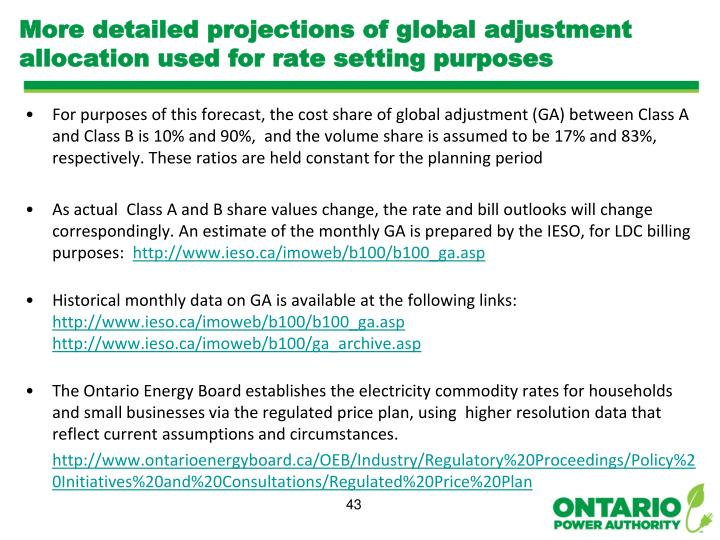 More detailed projections of global adjustment allocation used for rate setting purposes