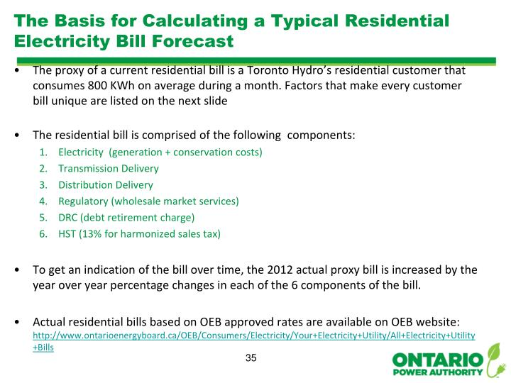 The Basis for Calculating a Typical Residential Electricity Bill Forecast