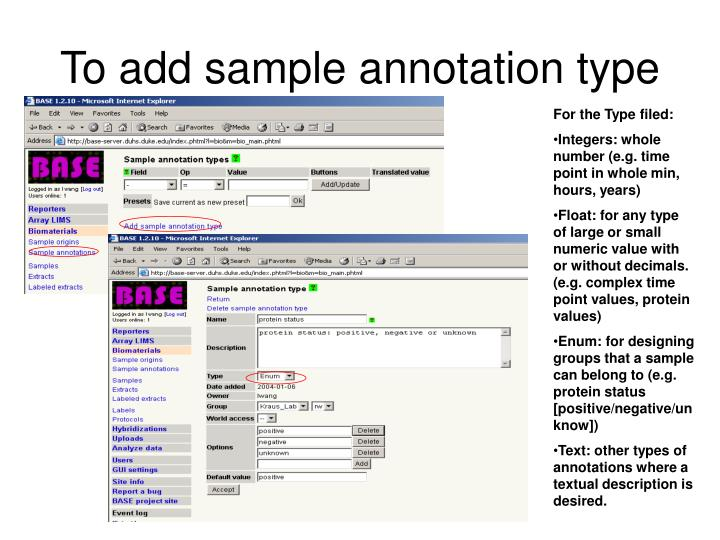 To add sample annotation type