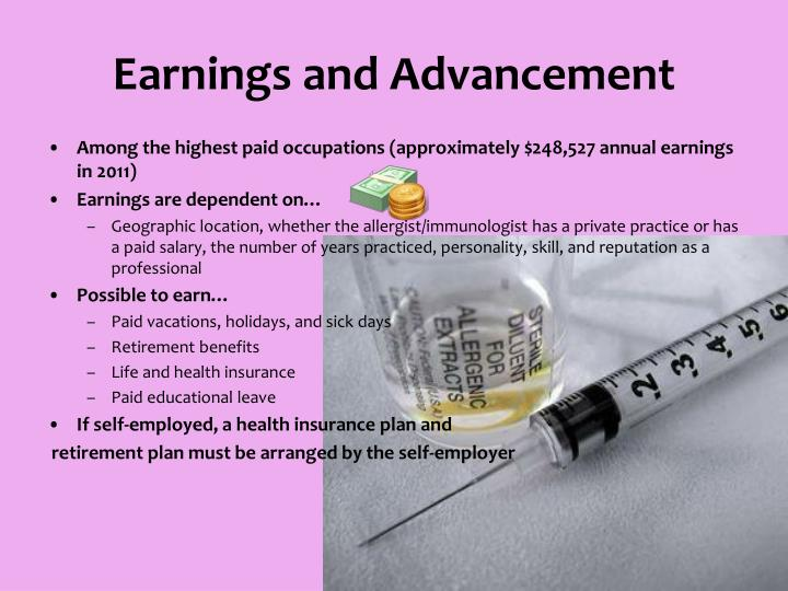 Earnings and Advancement