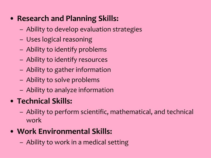Research and Planning Skills: