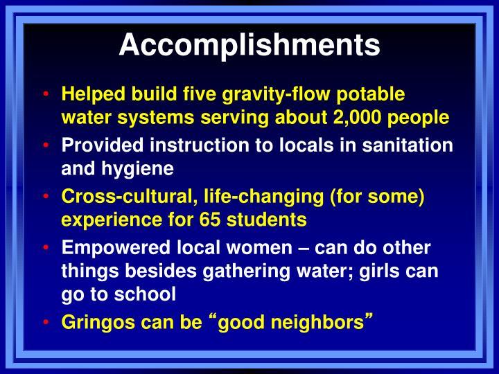 Accomplishments