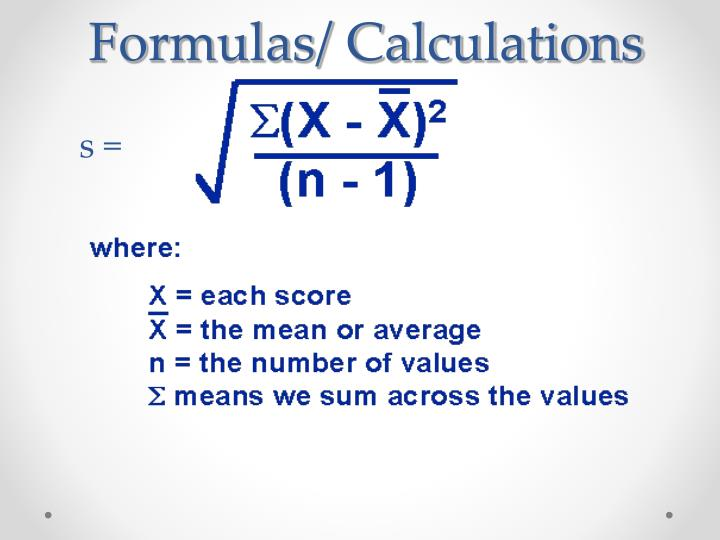 Formulas/ Calculations