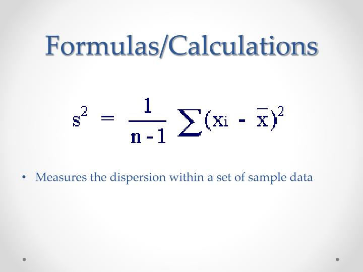 Formulas/Calculations