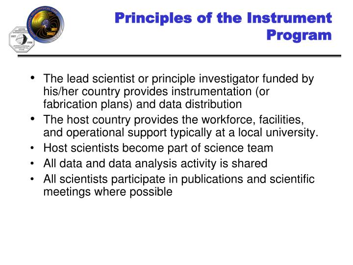 Principles of the Instrument Program