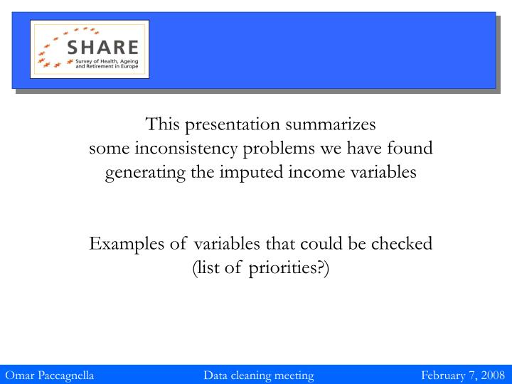 This presentation summarizes