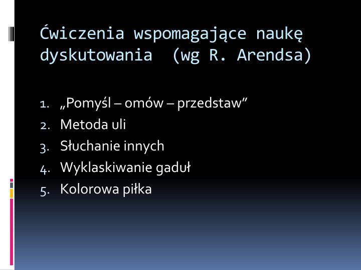 Ćwiczenia wspomagające naukę dyskutowania  (wg R. Arendsa)