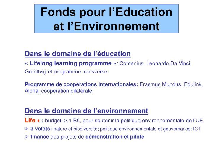 Fonds pour l'Education et l'Environnement