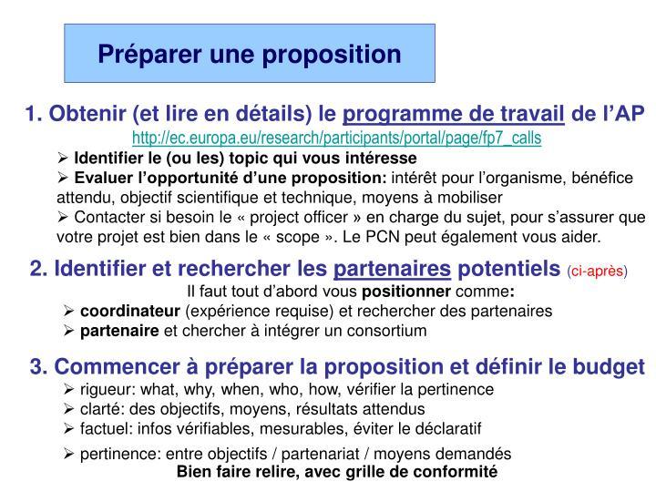 Préparer une proposition