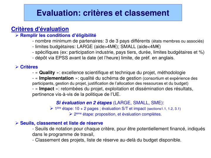 Evaluation: critères et classement