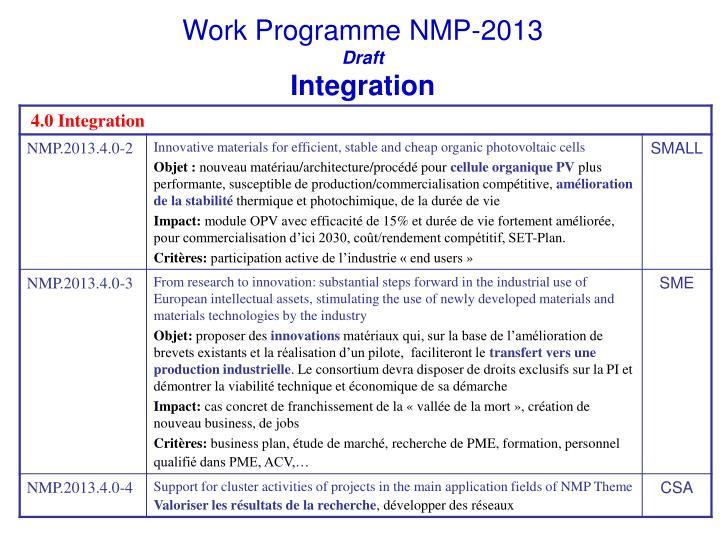 Work Programme NMP-2013