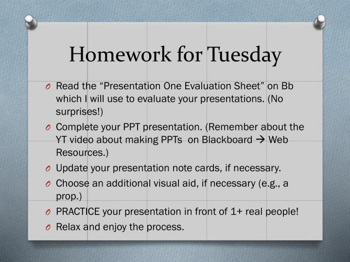 Homework for