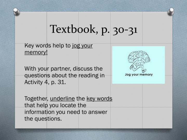 Textbook, p. 30-31