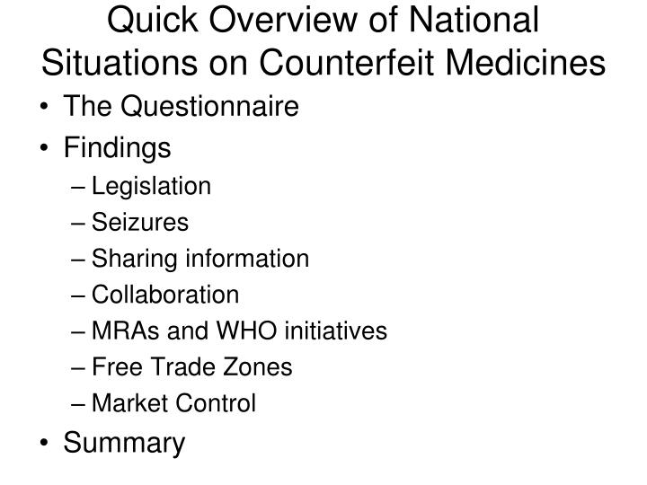 Quick overview of national situations on counterfeit medicines