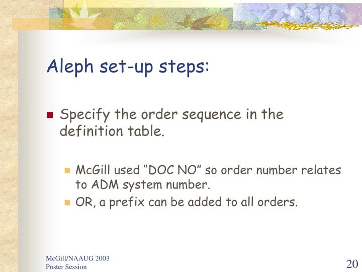 Aleph set-up steps:
