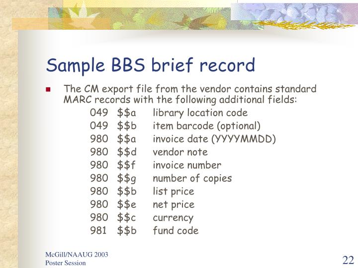 Sample BBS brief record