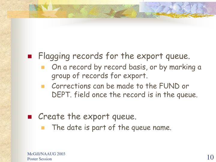Flagging records for the export queue.