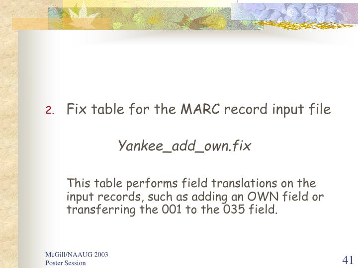 Fix table for the MARC record input file