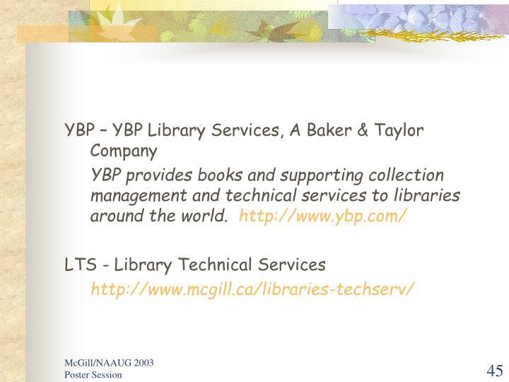 YBP – YBP Library Services, A Baker & Taylor Company