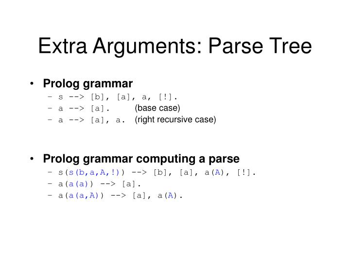 Extra Arguments: Parse Tree