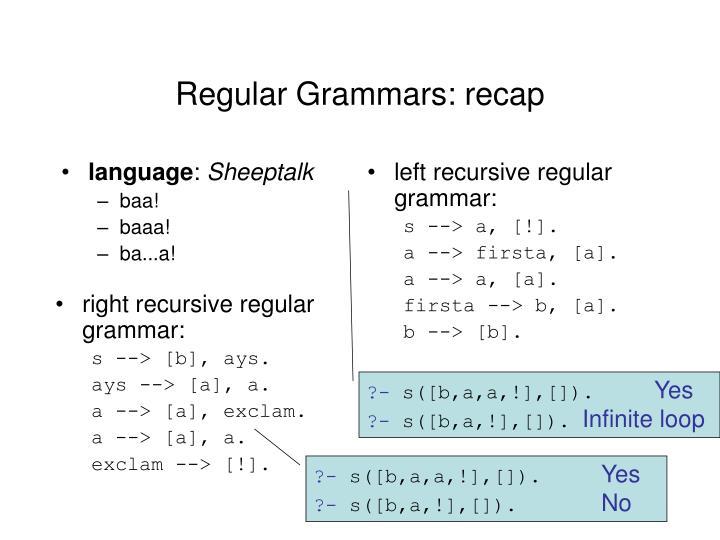 right recursive regular grammar:
