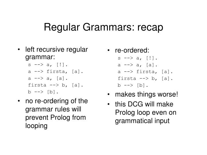 left recursive regular grammar:
