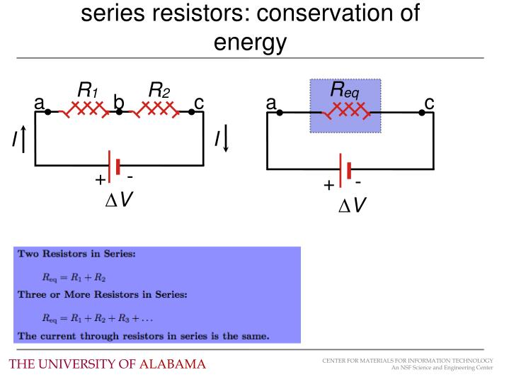 series resistors: conservation of energy