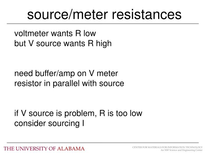 source/meter resistances