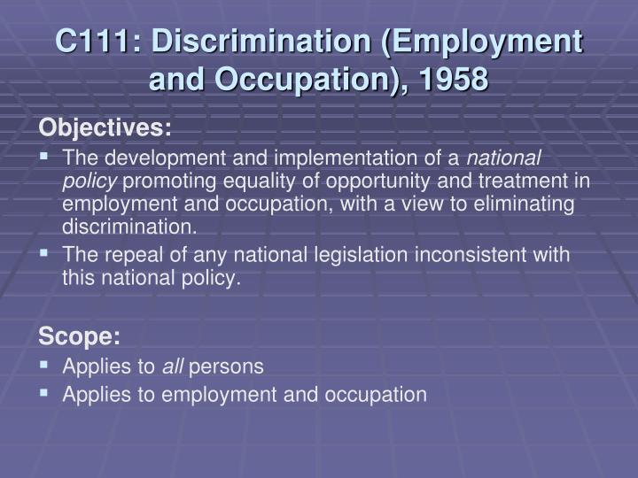 C111: Discrimination (Employment and Occupation), 1958