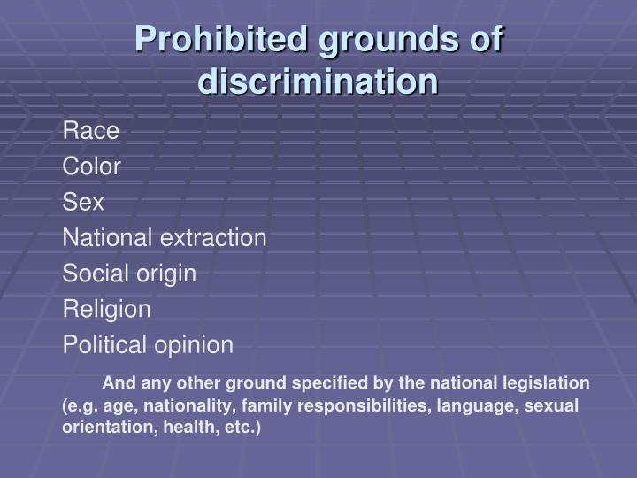 Prohibited grounds of discrimination