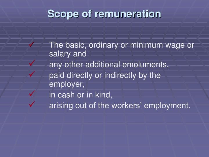 Scope of remuneration