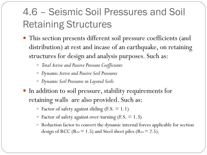 4.6 – Seismic Soil Pressures and Soil Retaining Structures