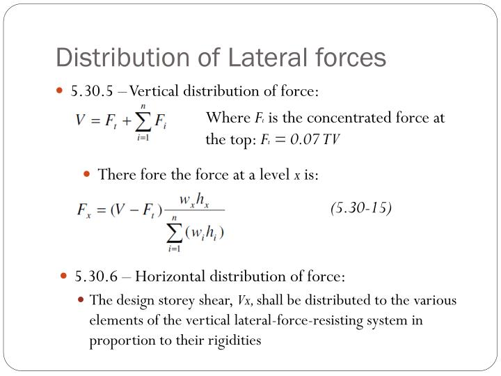 Distribution of Lateral forces