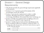division i general design requirements