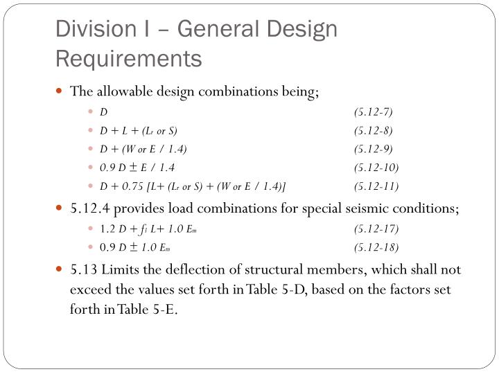 Division I – General Design Requirements